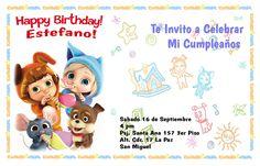 Tarjeta de Invitacion de Cumpleaños Estefano 2 Años