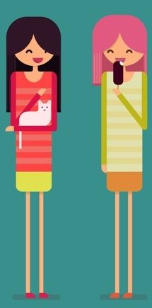 Three tall funny girls are chatting. Blond girl stays, woman with dark hair pats white cat, girl with short pink hair eats ice cream. Flat vector character illustration.