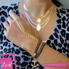 #gold #silver #flashtattoos #temporaltattoos #Outfit #Zeit #Moda #Accesorios #oodt #necklace #trends #2015trends #fashion #style #blue #tendencias #collar