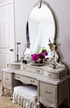 Concept for Ritz's bedroom set - painted with white and grey latex paint, distressed with silver, then minwax dark