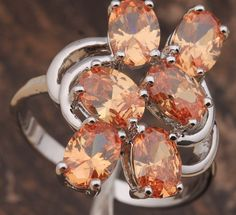 'Brown Morganite CZ 18K White Gold Filled Ring' is going up for auction at  9am Thu, Nov 29 with a starting bid of $5.