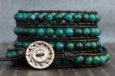 beaded leather wrap bracelet chrysocolla jasper on by CorvusDesign