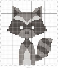 Animals raccoon cross stitch.