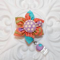 Retractable Badge Holder - Id Badge Reel - Badge Holder - Teacher Lanyard - Coral Blue Lavender by belleadees on Etsy https://www.etsy.com/listing/225480221/retractable-badge-holder-id-badge-reel