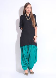 Aurelia Patiala. Black and teal blue punjabi patiala suit. #punjabisuit #patialasuit