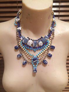 DESERT SKIES hand painted blue, cream and tan statement bib rhinestone necklace on Etsy, $150.00