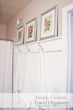 DIY bathroom moulding for towel hooks to completely TRANSFORM the look of her bathroom, for just a few bucks. You'll die when you see how easy it is. Bathroom Towel Hooks, Mold In Bathroom, Diy Bathroom, Simple Bathroom, Bathroom Furniture, Bathroom Moulding, Bathroom Ideas, Bathroom Updates, Master Bathroom