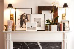 photos displayed on mantel