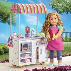 Campus Snack Cart American Girl Food, American Girl Doll Julie, American Girl House, American Girl Crafts, American Dolls, American Girl Clothes, Ag Dolls, Girl Dolls, Barbie Chelsea Doll