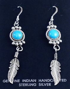 3f1a39778 Item #872Z- Long Navajo Turquoise Sterling Silver Feather Dangle Earrings