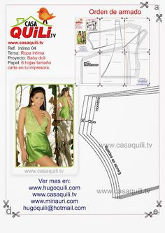 Quili Ropa intima baby doll - Mary N - Álbumes web de Picasa Lingerie Patterns, Sewing Lingerie, Clothing Patterns, Sewing Patterns, Corset Tutorial, Short Satin, Intimate Ideas, Sewing Lessons, Clothing And Textile