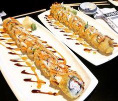 Types of Sushi Rolls: Description with Photos: Crazy Boy Roll, photo Alaskan Rolls, Dragon Sushi, Kappa Maki. Invented in America. The Philadelphia roll. Fried Sushi Roll Recipe, Cooked Sushi Rolls, Deep Fried Sushi, Shrimp Sushi Rolls, Cooked Sushi Recipes, Sushi Roll Recipes, Shrimp Tempura Roll, Types Of Sushi Rolls, Recipes