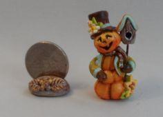 OOAK pumpkin scarecrow with bird house miniature Cottage Kitty