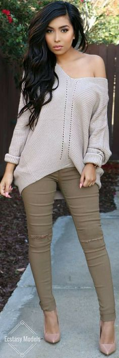 Neutrals // Sweater & pants @glamenvy , Heels @lolashoetiquedolls // Fashion Look by @itsmsmonica