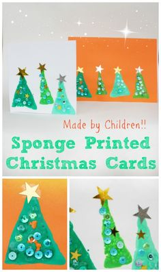 Craft Gifts For Father - Fantastic Present Strategies Easy-To-Make-And-Wonderfully-Christmas-Make-These-Sponge-Printed-Christmas-Cards-Today Christmas Arts And Crafts, Christmas Crafts For Toddlers, Preschool Christmas, Toddler Christmas, Diy Christmas Cards, Christmas Activities, Christmas Themes, Holiday Crafts, Kids Crafts
