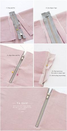 DIY: sew an exposed zipper  For the inexperienced seamstress or for those of us who tend to forget from time to time!