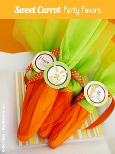"Super Easy and Really Cute Mock ""Carrot"" Easter Party Favors."