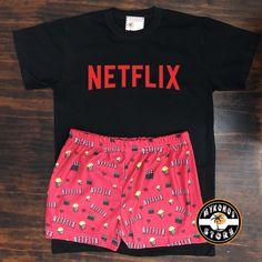 """Mykonos Store on Instagram: """"Pijama de Netflix ❤️💕 conjunto completo remera + short $700. tenemos todos los modelos publicados en nuestra página web en stock! Más de…"""" Cute Lazy Outfits, Teenage Outfits, Cute Swag Outfits, Outfits For Teens, Stylish Outfits, Cute Pajama Sets, Cute Pjs, Cute Pajamas, Girls Fashion Clothes"""