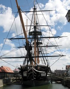 .H.M.S. Trincomalee is the oldest British warship still afloat and Hartlepool is proud to have it. Built in Bombay, India in 1817, the Trincomalee was brought to Hartlepool in 1987. Hartlepool Historic Dockyard, Tees Valley, England