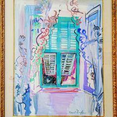 """Raoul Dufy """"La fenêtre aux volets verts"""" aquarelle & gouache collection particulière.  #Expo """"#Dufy #tissus & créations"""" (3/10) #musée des #beauxarts de #Carcassonne  #aude #audetourisme #jaimelaude #LanguedocRoussillon #sud #suddefrance #southfrance #igersfrance #ig_france #exhibition #museum #exposition #tissu #RaoulDufy"""