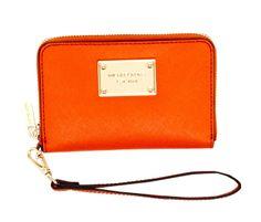 MICHAEL Michael Kors iPhone Leather Zip WalletTangerine
