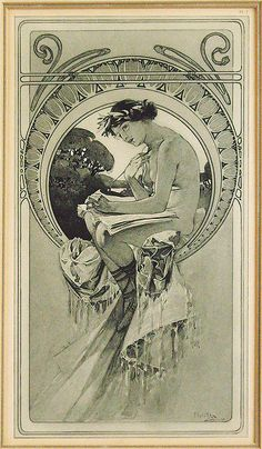 Alphonse Mucha *love this kind of circular/arc halo which is geometric yet also referencing vegetation* Art Nouveau Mucha, Alphonse Mucha Art, Art Nouveau Poster, Art Nouveau Tattoo, Art And Illustration, Character Illustration, Vintage Posters, Vintage Art, Jugendstil Design