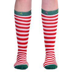 Runner's Knee Socks - Running Christmas Elf (Red & White Stripes/Green) | Running Knee Socks | Runners Knee Socks