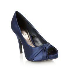 Debut Navy high heeled woven toe court shoes- at Debenhams.com