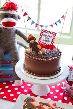 DIY sock monkey cake. #DIY #cake