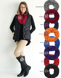 Monogrammed Scarf, monogrammed gameday scarf, scarf, personalized scarf, infinity scarf, monogrammed infinity scarf, circle scarf - SC01 by MBWCustomEmbroidery on Etsy https://www.etsy.com/listing/256287965/monogrammed-scarf-monogrammed-gameday