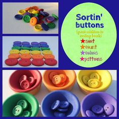 Items similar to Buttons N Bowls--Montessori Inspired--Open-ended play toy on Etsy Montessori Color, Early Childhood Education, Diy For Kids, Color Patterns, Wooden Toys, Homeschool, Buttons, Play, Handmade Gifts