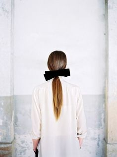 Classically Chic pony tail with ribbon, white dress shirt