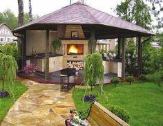 Inspiration for garden gazebos Renew your inspiration in the garden. The gazebo in the summer a great help. Garden Gazebo, Pergola Patio, Outdoor Spaces, Outdoor Living, Outdoor Decor, Outdoor Sheds, Outdoor Kitchens, Backyard Sitting Areas, Patio Images