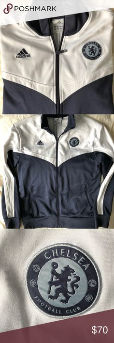 c7fc97575a7d 🎉HP🎉Adidas Chelsea Football club track jacket Adidas Chelsea Football  Club navy blue   white track jacket Men s Sz Large Great condition with  normal ...