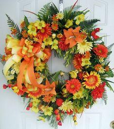 Orange, Yellow & Cream Wreath. (Floral arrangements by rhea)