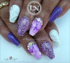 Purple, Lavender & White Acrylic & Gel Nails...
