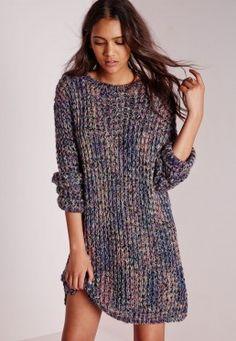 Zip Back Mixed Yarn Jumper Dress Multi