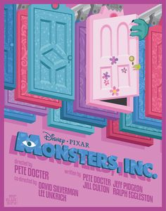 disney pixar, monsters inc, mario graciotti Vintage Disney Posters, Disney Movie Posters, Cartoon Posters, Vintage Cartoon, Cool Posters, Monsters Inc, Disney Monsters, Arte Disney, Disney Art