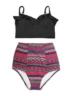 Black Midkini Top and Burgundy Arab Art High por venderstore
