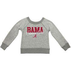 Alabama Crimson Tide Girls Youth Butter Soft Fleece Crew Long Sleeve Sweatshirt - Heathered Gray