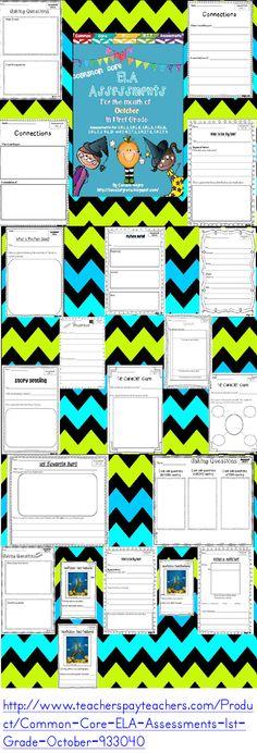 ELA Assessments for October in 1st Grade.  Assessments for 1.R.L.1, 1.R.L.2, 1.R.L.3, 1.R.L.6, 1.R.L.7, 1. R.L.10 and 1. R.I.T.1, 1.R.I.T.2, 1.R.I.T.5, 1.R.F.S.2, 1.L.1, 1.L.2.  http://www.teacherspayteachers.com/Product/Common-Core-ELA-Assessments-1st-Grade-October-933040