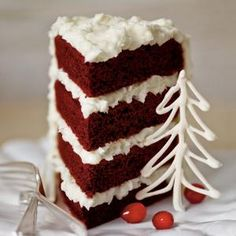 Red Velvet Cake with Coconut-Cream Cheese Frosting-This cake bakes best in four pans. If you need additional pans, use 8-inch aluminum foil disposable pans. Just be sure to place them on a baking sheet for stability.