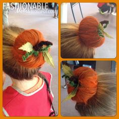Fall-themed Crazy Hair! Donut bun sprayed with orange hairspray, fuzzy pipe cleaners for stem and vines, and fake leaves.