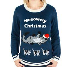Festified - Women's Meeowwy Christmas Cat Ugly Christmas Sweater (Navy), #UglyChristmassweater #festified