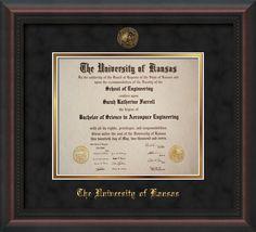 University Of Kansas Diploma Frame Mahogany Braid W Ku Embossed Seal Univ