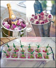 gelo decorado em champagne e como amarrar as flores