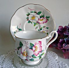 Tea Cup and Saucer Royal Albert Teacup Saucer Clematis Flowers