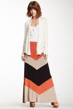 Chevron Stripe Maxi Skirt.