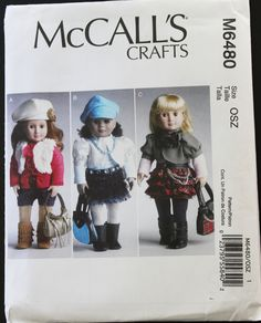 "Sewing Pattern Doll 18 Inch McCalls Crafts McCall's 6480 18"" Doll Clothes Three Doll Outfits Top Skirts Leggings Shorts Hat Vest Jacket Belt by PastThatLasts on Etsy"