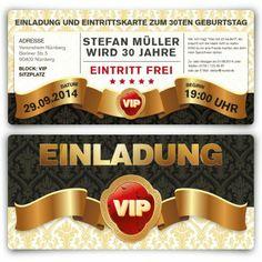 #Einladungskarten als #VIP #Ticket. Mit eigenem Text und echtem UV-Lack. http://www.kartenmachen.de/shop/einladungskarte-als-eintrittskarte-vip.html  #Edel und #ausergewöhnlich